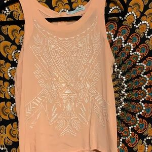 Peach Tank with White Embroidered Detailing